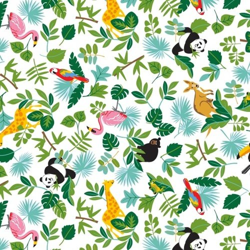 Little Explorers - Tossed Leaves/Animals (White)