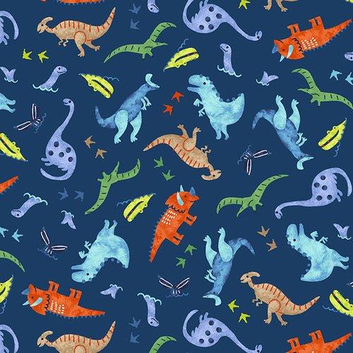 Hear Me Roar - Tossed Dinosaurs (Dk Navy)