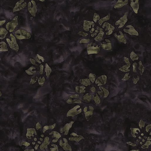 Bali Tropic Garden Batiks - Small Flower (Smoke/Stone)