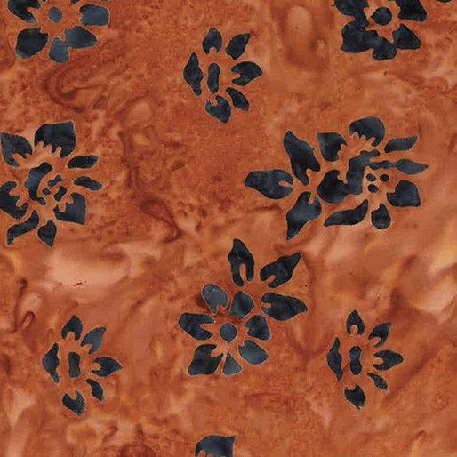 Bali Tropic Garden Batiks - Small Flower (Terracotta/Grey)