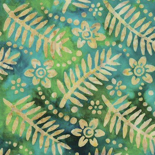 Bali Tropic Garden Batiks - Palm & Floral (Turquoise/Green)