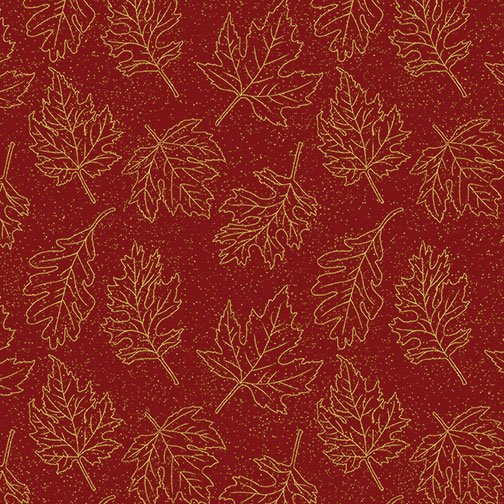 Autumn Leaves - Leaf Outline (Dk Red/Metallic)