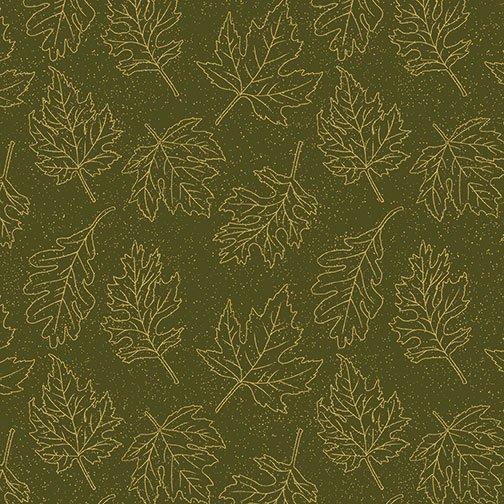 Autumn Leaves - Leaf Outline (Dk Green/Metallic)