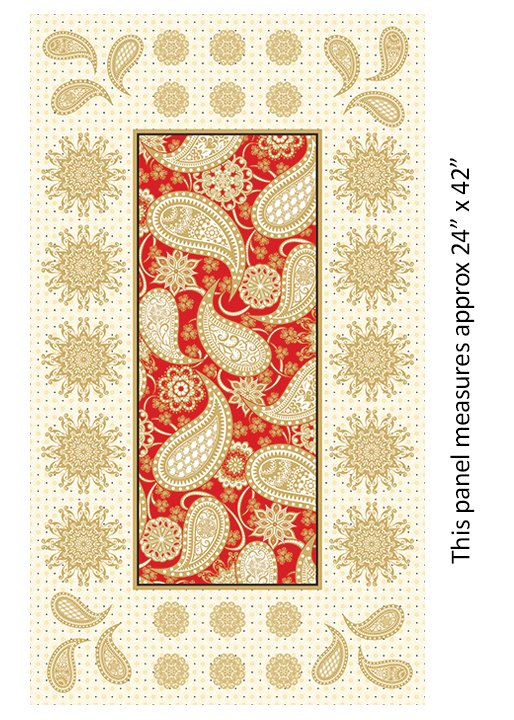Jubilee Holiday Metallic - 24 Embroidery Panel (Red)