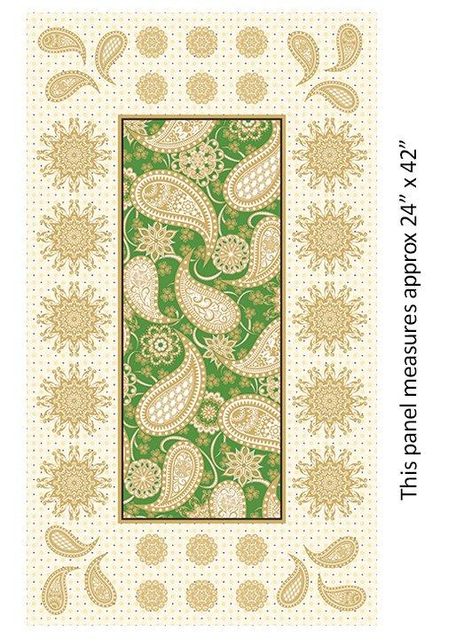 Jubilee Holiday Metallic - 24 Embroidery Panel (Green)