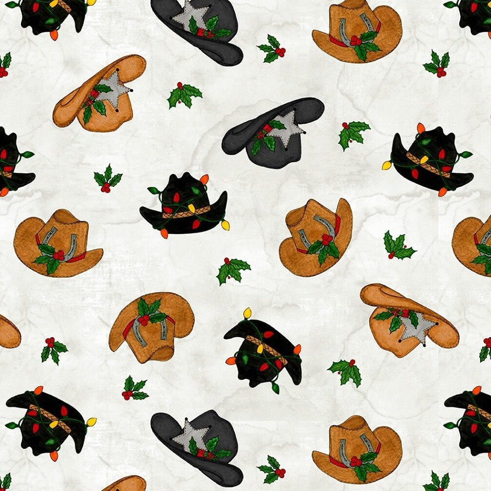 Giddy Up Santa - Tossed Cowboy Hats (White)