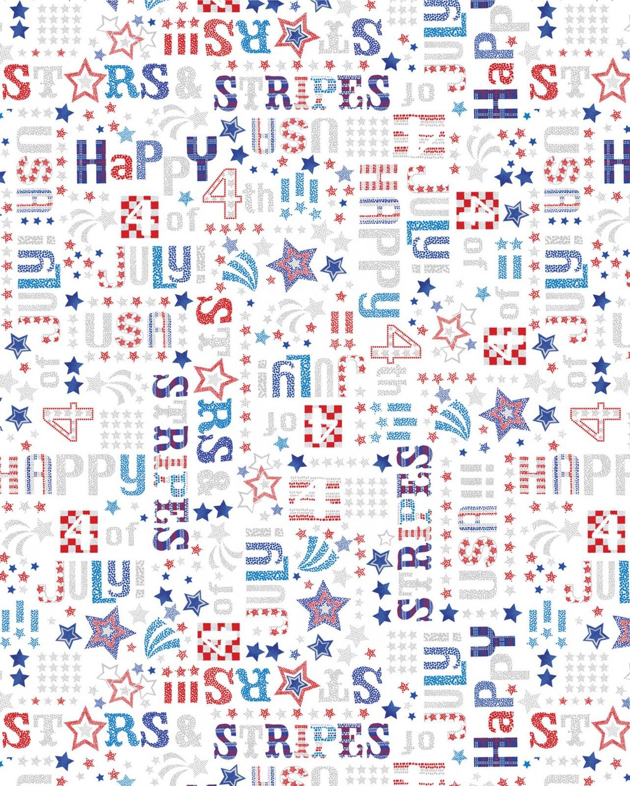 Star Spangled - Patriotic Words Metallic (White)
