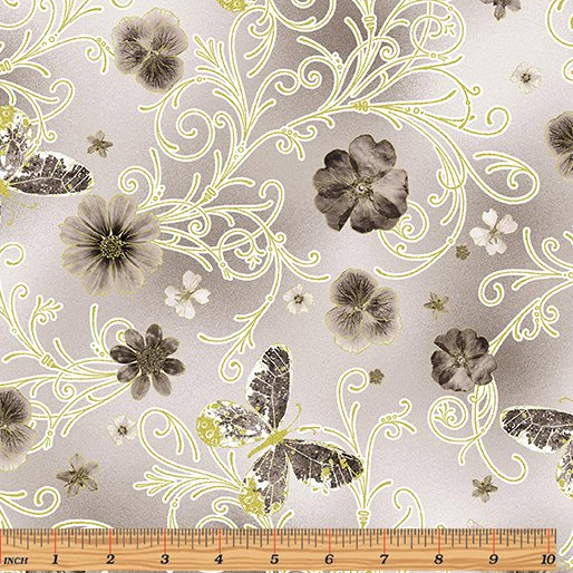 Floral Impressions - Pressed Butterfly (Lt Gray/Metallic)