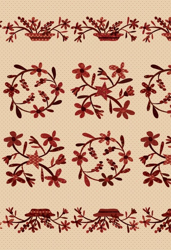 Berries & Blossoms - 24 Applique Panel