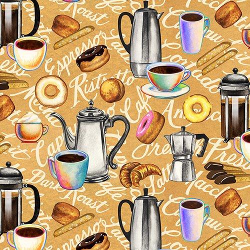 Brewed Awakenings - Coffee Motifs (Tan)