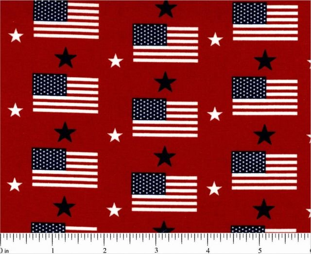Patriotic - Tiny Flags and Stars (Red)