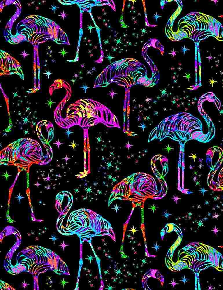 *Galaxy Flamingos (Black)