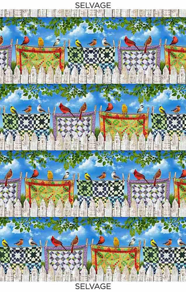 *Birds On Quilts 11 Stripe (Multi)
