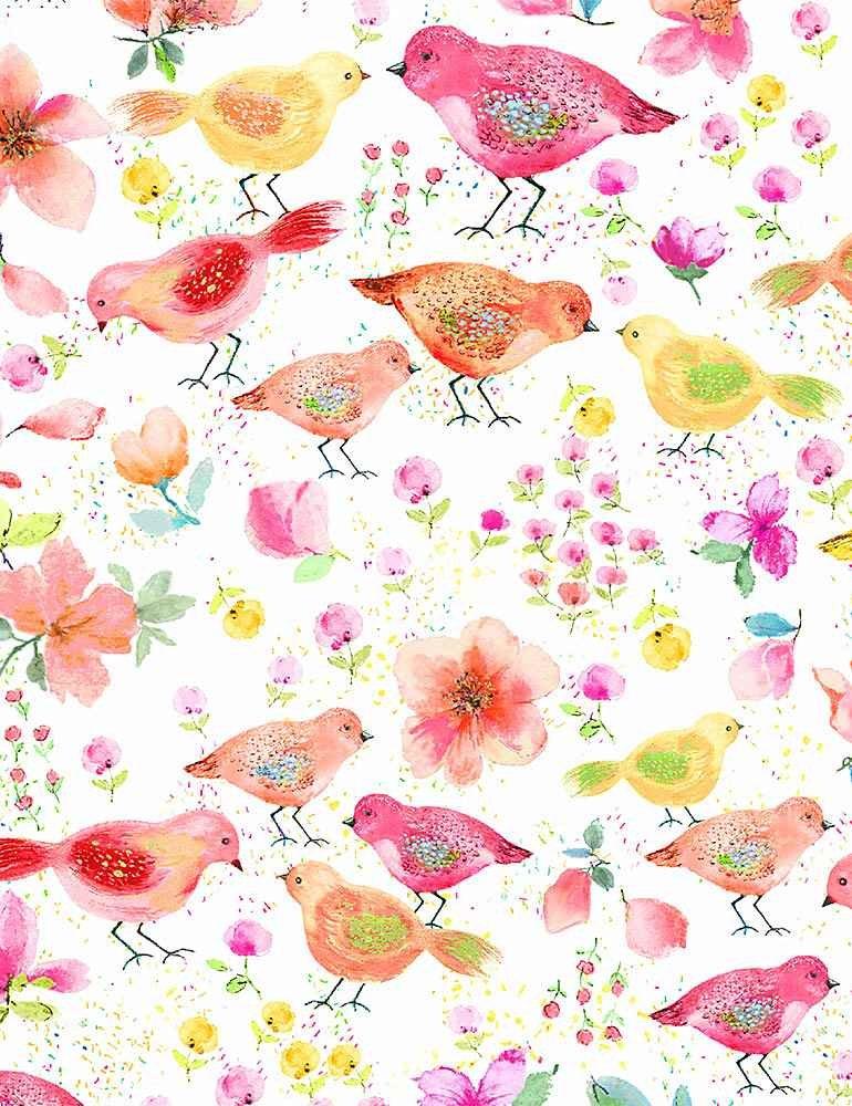 *Watercolor Spring Song Birds (White)