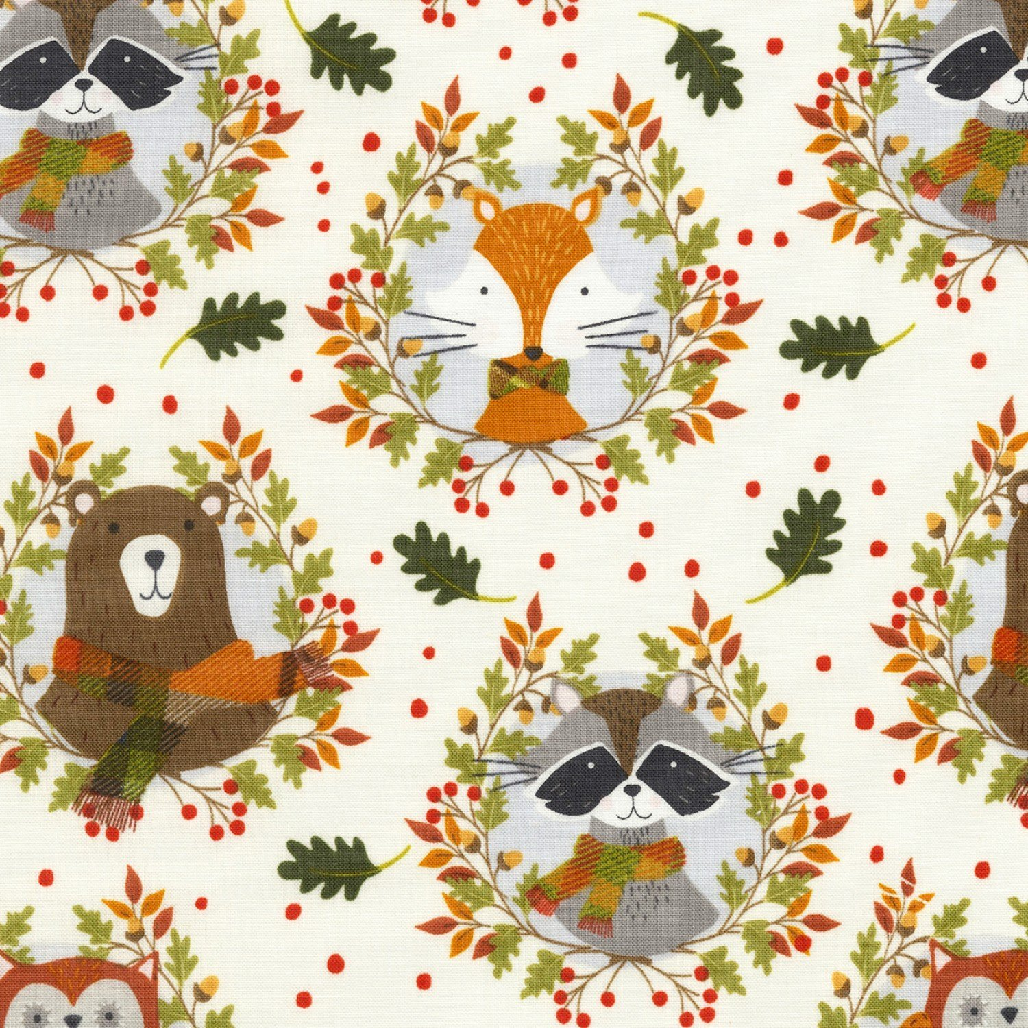Fox and Racoons (Cream)