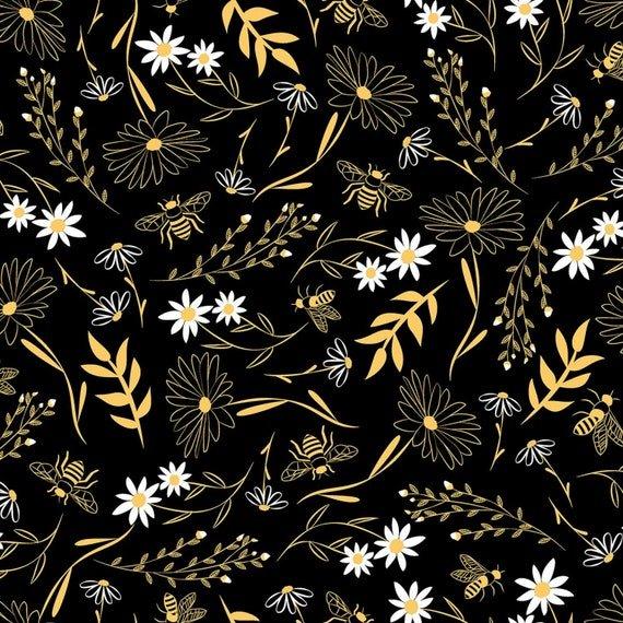 *Bee Large Florals (Black)