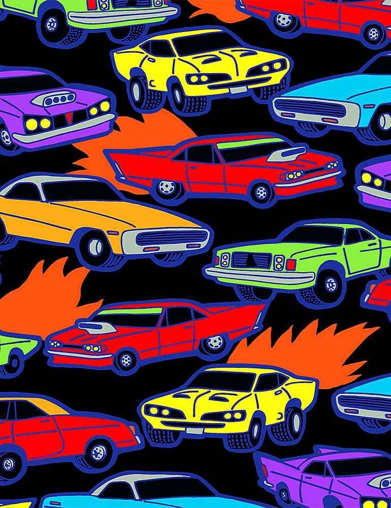 *Bright Racecars (Black)
