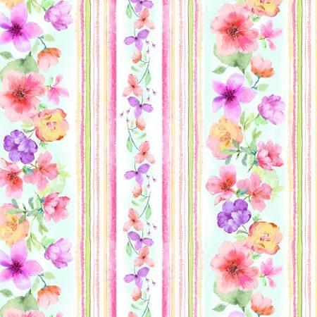 *Spring Watercolor Floral 11 Stripe (White)