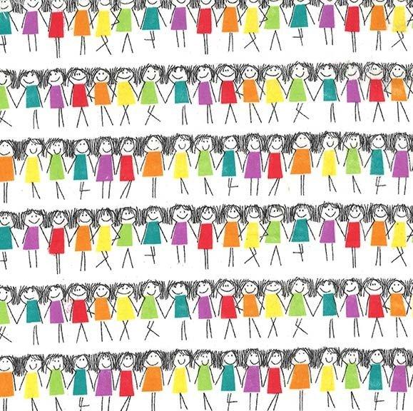 Rainbow Girls on Flannel (Rainbow)