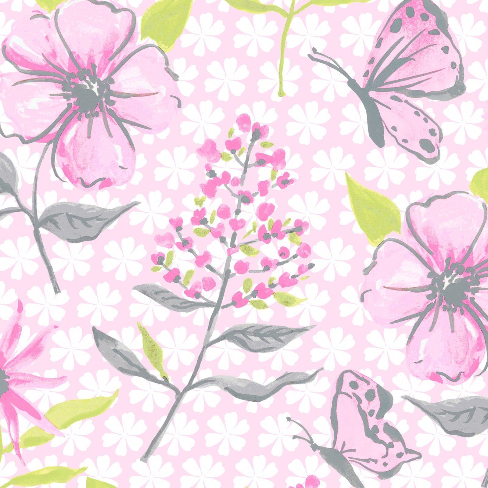 Flutter - Flowers and Butterflies (Light Pink)