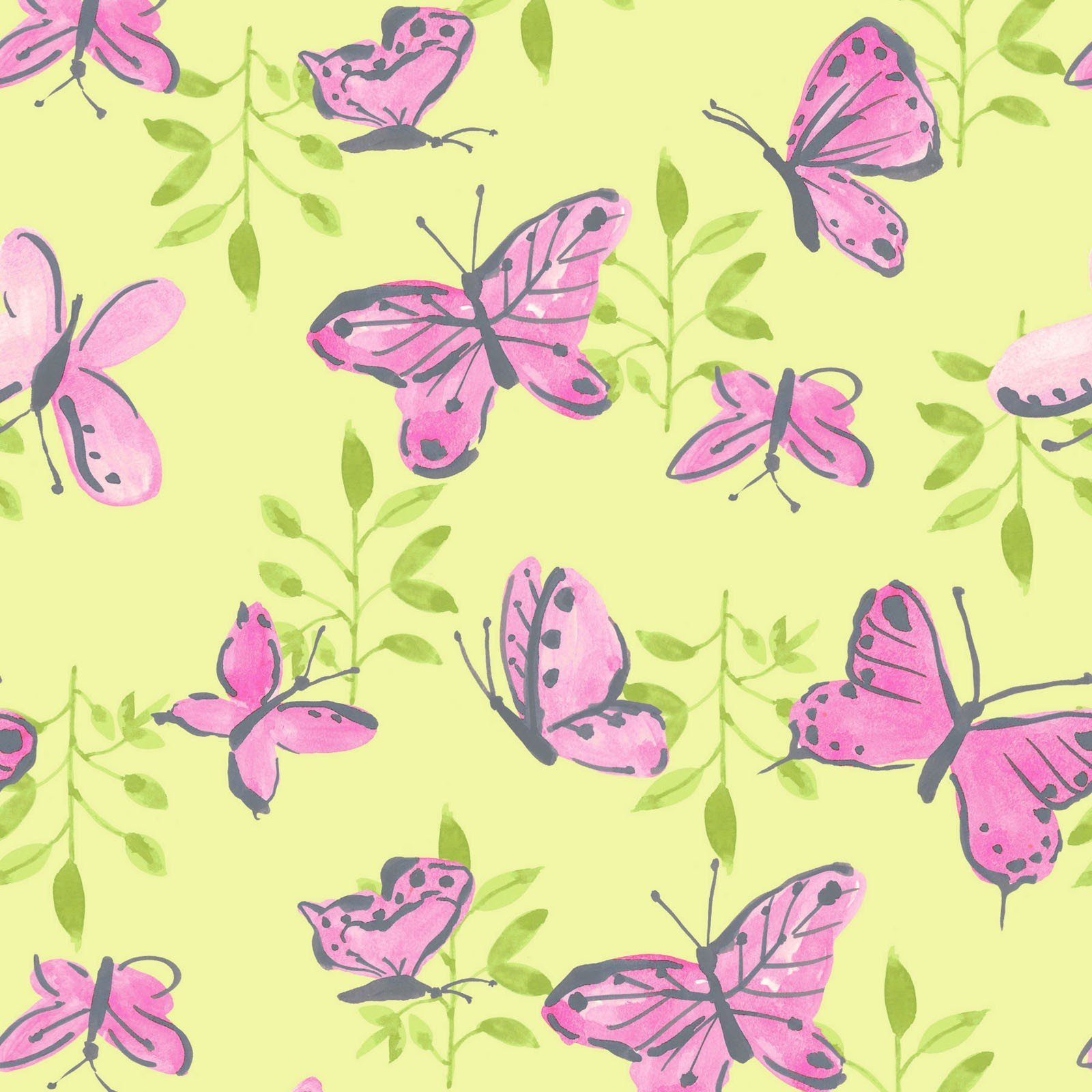 Flutter - Butterflies (Light Lime)