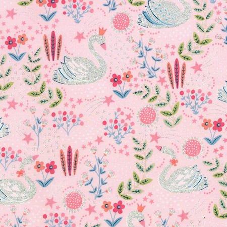 Dainty Swans Metallic  (Pink)