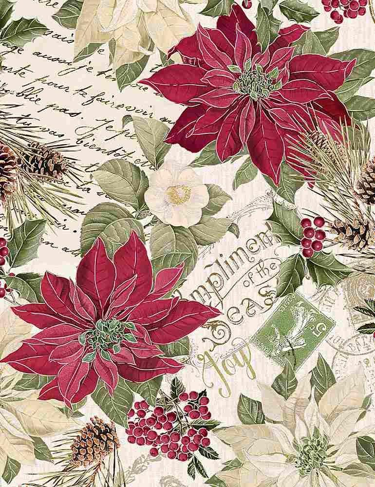 Poinsettias on Text Metallic (Cream)