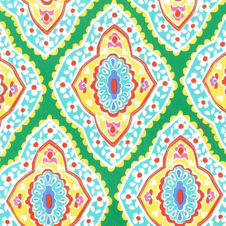 Michael Miller Fabrics Madison Orange Brown on Teal