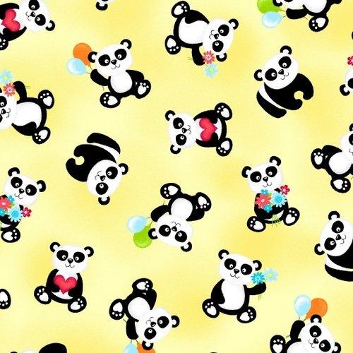 Panda-Monium Flannel - Tossed Panda Bears (Yellow)
