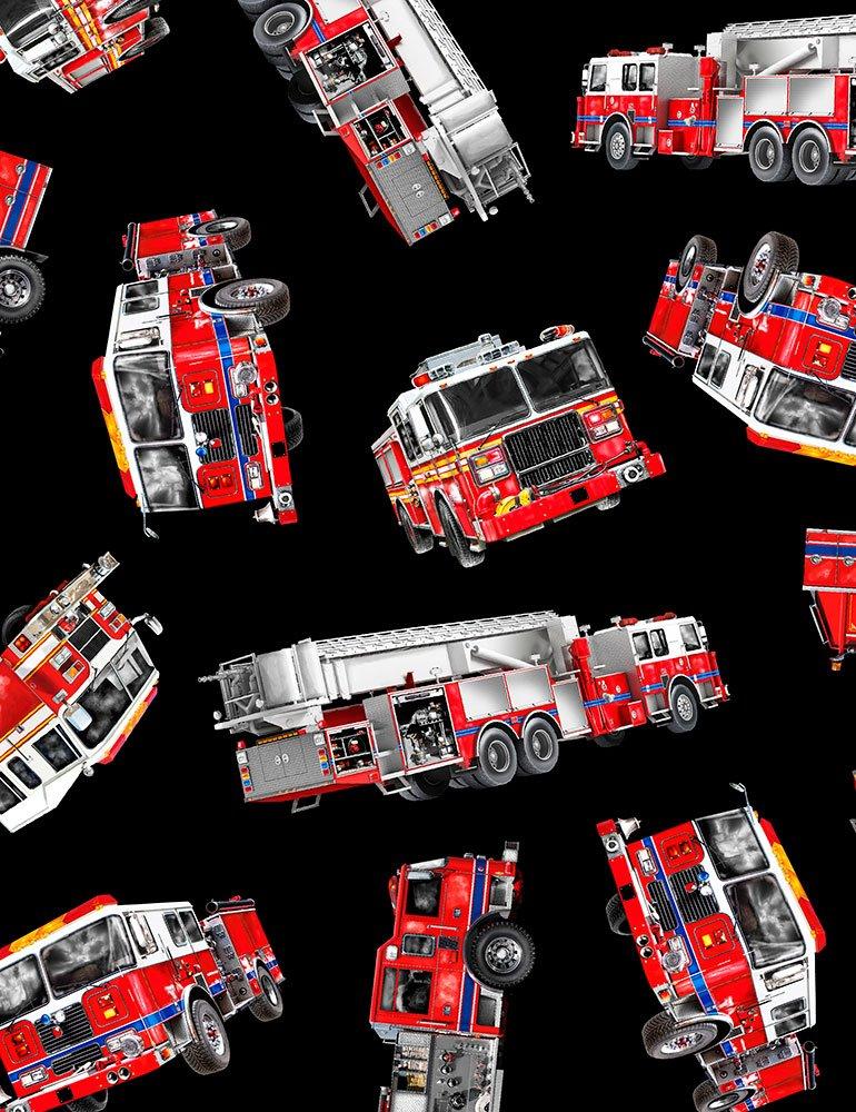 *Tossed Fire Trucks (Black)