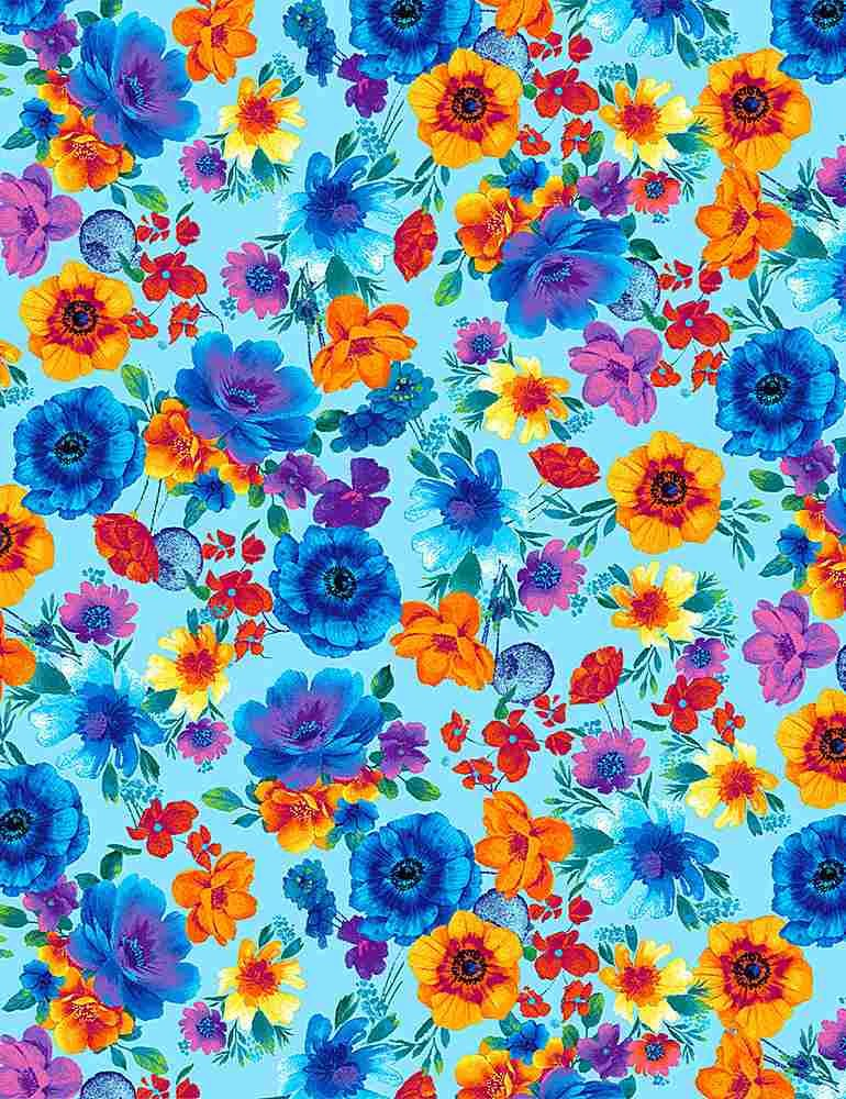 *Glow Rainbow Tossed Flowers (Aqua)