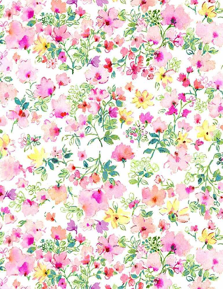 *Watercolor Pink Spring Floral (White)