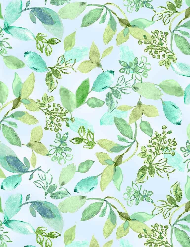 *Watercolor Varied Leaves (Aqua)