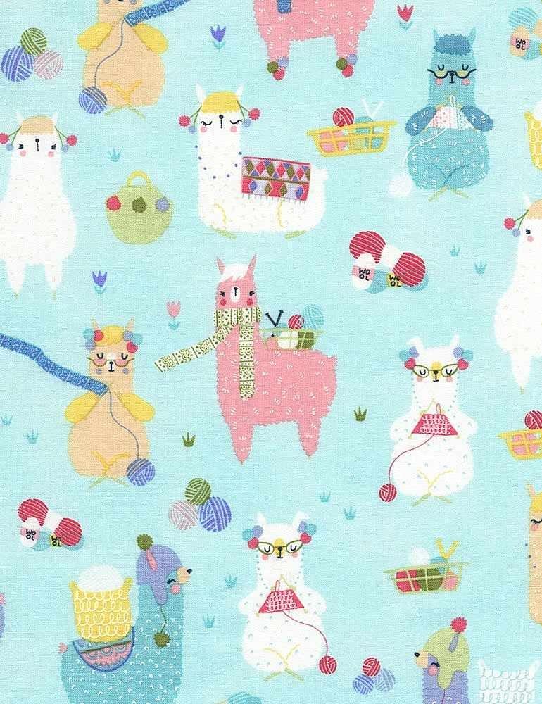 *Knitting Alpacas (Aqua)