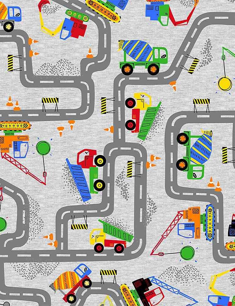 *Construction Trucks On Roads (Grey)