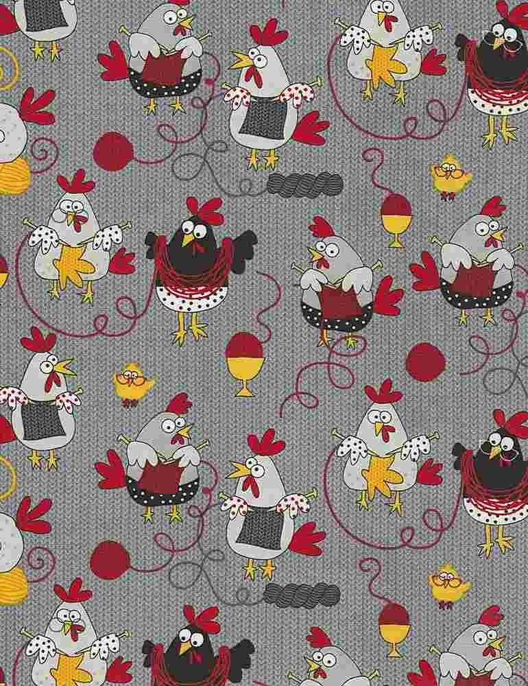 *Knitting Chickens (Grey)