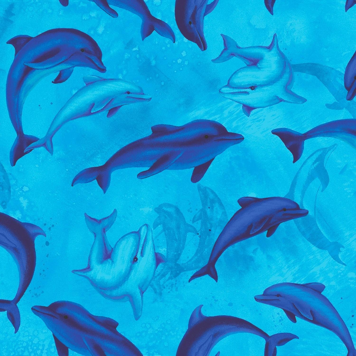 *Swimming Dolphins (Blue)