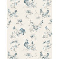 Early To Rise - Toile  (Cream/Blue)