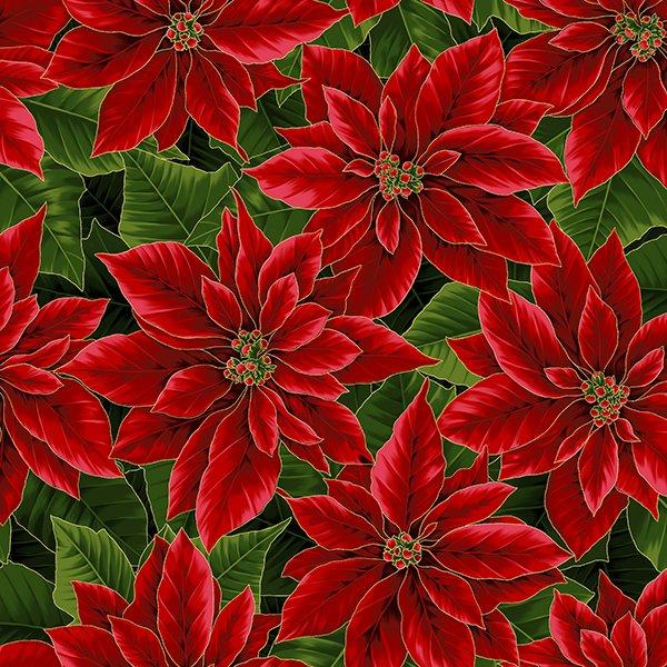 Holiday Decadence - Poinsettias Metallic (Christmas/Gold)