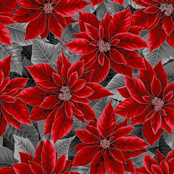 Holiday Decadence - Poinsettias Metallic  (Onyx/Silver)