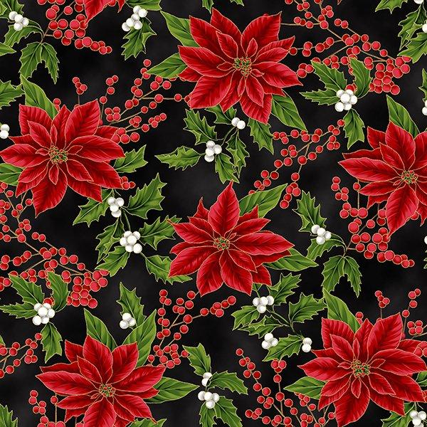 Holiday Decadence - Small Poinsettias Metallic (Black/Gold)