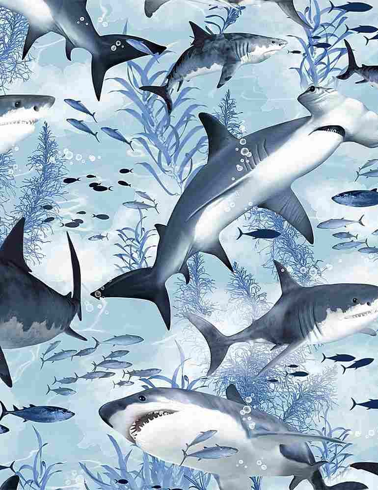 *Swimming Sharks (Blue)
