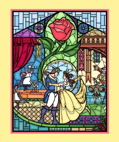 Beauty and the Beast - Stained Glass Panel