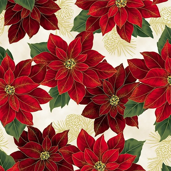 Joyful Traditions - Poinsettias (Natural/Gold)