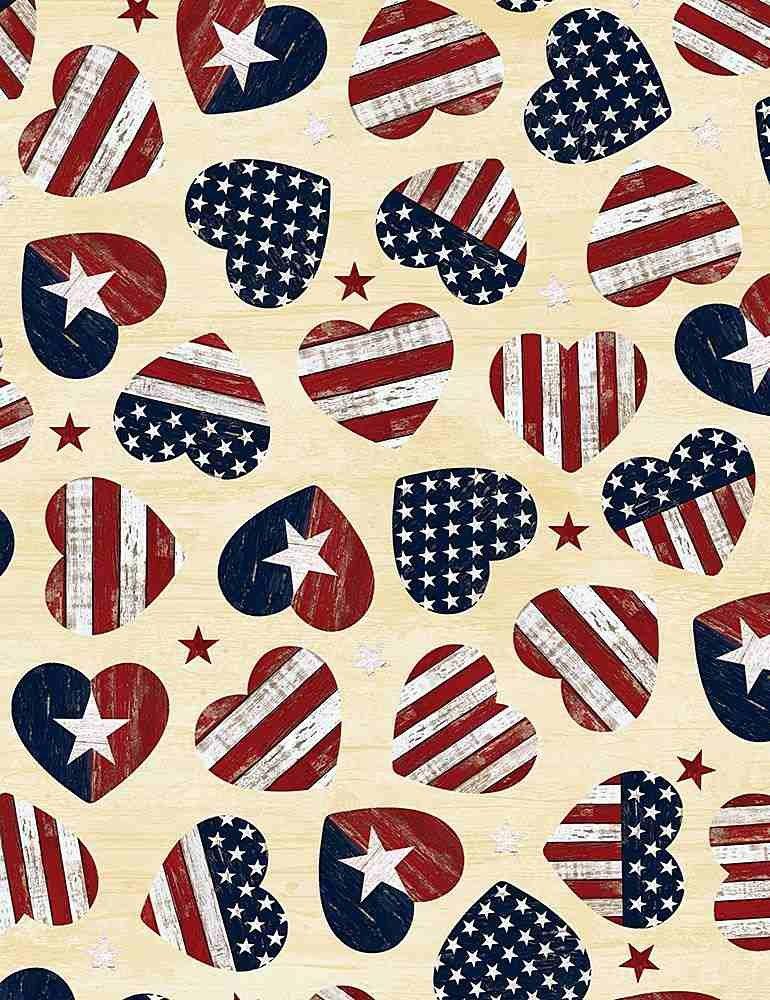 *American Flag Hearts (Cream)
