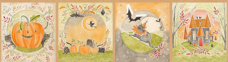 112.123.01.1 Halloween Stories Panel 11.75 INCHES Happy Halloweeny Cori Dantini Blend