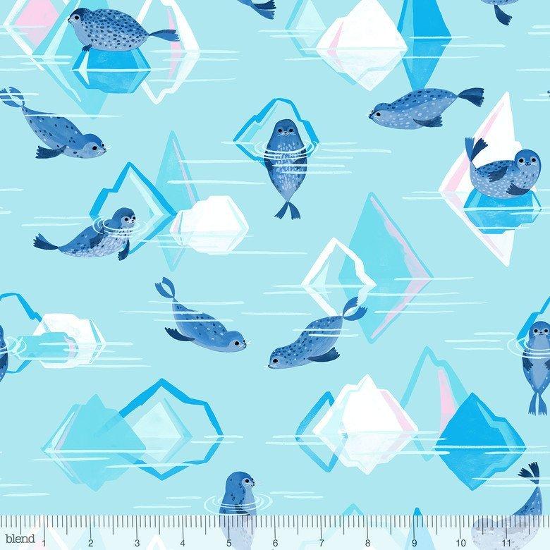 124.106.01.2 Artic Seals Icebergs Aqua Blend Fabrics