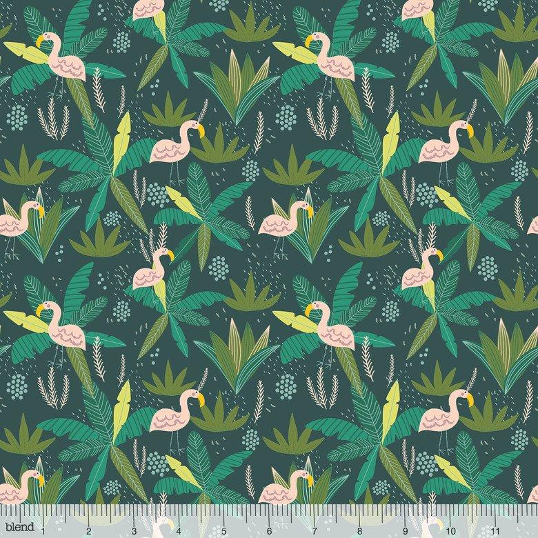 129.102.06.2 Flamingo Teal Junglemania by Mia Charro Blend Fabric
