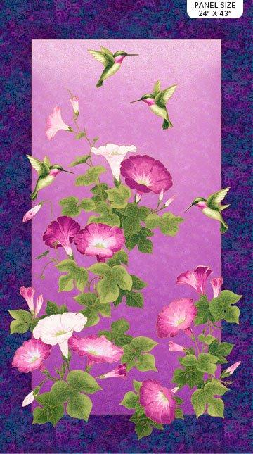 23319M 88 Purple Multi Panel 24x43 Metallic Hummingbird Morning Glory Shimmer Northcott