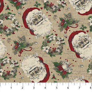 23547 14 Taupe Santa Toss Vintage Christmas Northcott